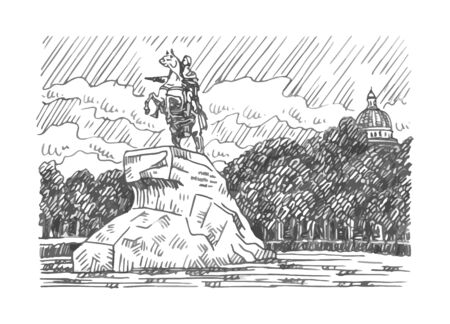 Monument to Peter the Great (Bronze Horseman). Senate Square in Saint Petersburg, Russia. Sketch by hand. Vector illustration.