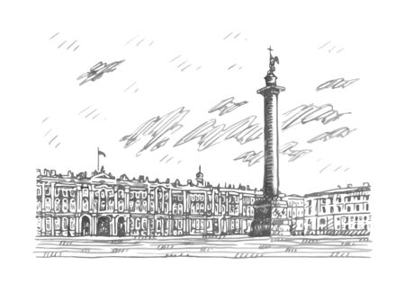 View of the Winter Palace in Saint Petersburg, Russia. Sketch by hand. Vector illustration. Stock fotó - 127905509