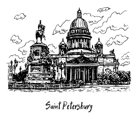 Saint Isaac Cathedral and the Monument of Emperor Nicholas I, in St. Petersburg, Russia. Sketch by hand. Vector illustration.