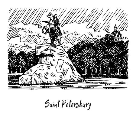 Statue of Peter the Great, Horseman. Senate Square, Saint Petersburg, Russia. Sketch by hand. Vector illustration.
