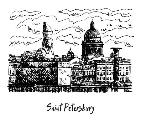 Egyptian sphinx on the embankment of the Neva river in Saint Petersburg, Russia. St. Isaac's Cathedral in the background. Sketch by hand. Vector illustration. Иллюстрация