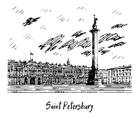 View of the Palace Petersburg, Russia. Sketch by hand. Vector illustration.