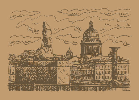 Sphinx on the university Petersburg, Russia. St. Isaacs Cathedral in the background. Sketch by hand. Vector illustration. Illusztráció
