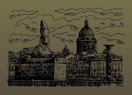 Egyptian sphynx on the embankment of the Neva river in Saint Petersburg, Russia. St. Isaac's Cathedral in the background. Sketch by hand. Vector illustration. Illustration