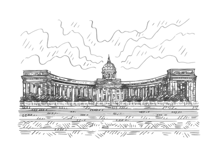 Saint Petersburg, Russia. Sketch by hand. Vector illustration. Illusztráció