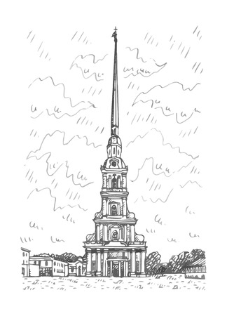 Peter and Paul Cathedral located in Saint Petersburg, Russia. Sketch by hand. Vector illustration.