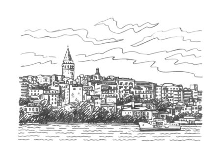 View of Karakoy and the Galata Tower from the Bosphorus, Istanbul, Turkey. Sketch by hand. Vector illustration.