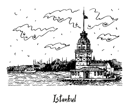 View of the Maidens Tower on the Bosphorus strait, Istanbul, Turkey. Sketch by hand. Vector illustration. Иллюстрация