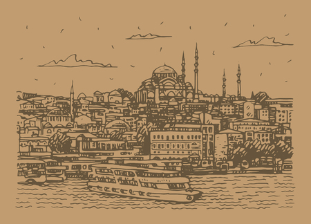 View of the old town of Istanbul, Turkey. The Sueleymaniye Mosque in Istanbul, as seen from the Golden Horn. Sketch by hand. Vector illustration.