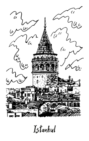 Galata Tower, Istanbul, Turkey. Famous landmark in the European side of Istanbul. Sketch by hand. Vector illustration. Illusztráció