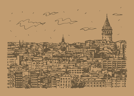 Istanbul cityscape with Galata Tower. Sketch by hand. Vector illustration. Stock fotó - 127357279