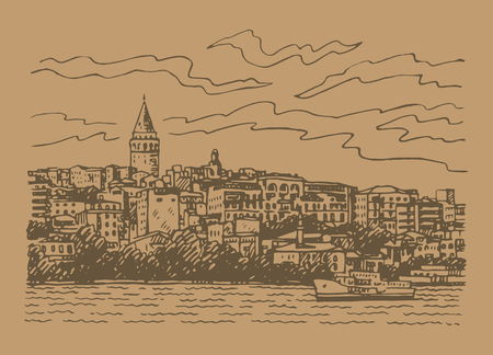 View from Istanbul with Galata Tower. Seafront of Karakoy, Istanbul, Turkey. Sketch by hand. Vector illustration. Illustration