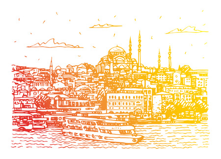 View of the old town of Istanbul, Turkey. The Sueleymaniye Mosque in Istanbul, as seen from the Golden Horn. Sketch by hand. Vector illustration. Stock fotó - 126628341