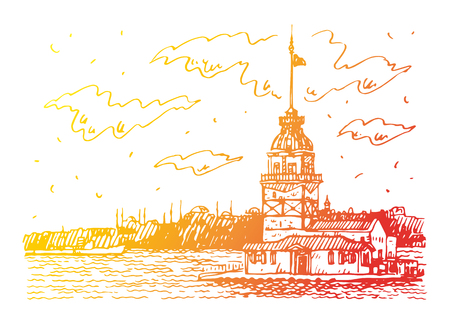 View of the Maiden's Tower on the Bosphorus strait, Istanbul, Turkey. Sketch by hand. Vector illustration. Illustration