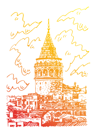 Galata Tower, Istanbul, Turkey. Famous landmark in the European side of Istanbul. Sketch by hand. Vector illustration. Illustration