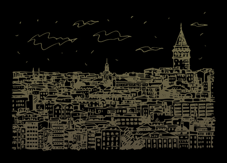 Istanbul cityscape with Galata Tower. Sketch by hand. Vector illustration.