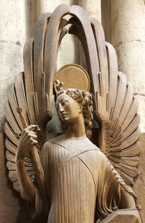 Angel with wings, in the Church. Dom Cologne Stock Photo