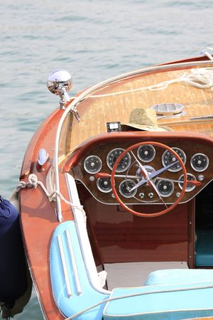 edel: Very beautiful, noble and old motorboat Stock Photo