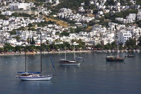 Sailboat in the harbor (Bodrum) in Turkey