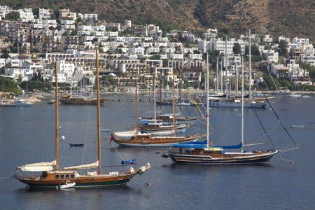 greatly: Sailboat in the harbor (Bodrum) in Turkey
