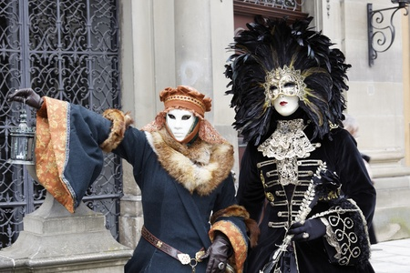People Wearing Venetian Masks photo