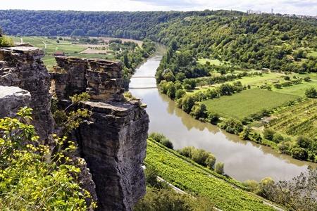 neckar river valley in hessigheim, germany