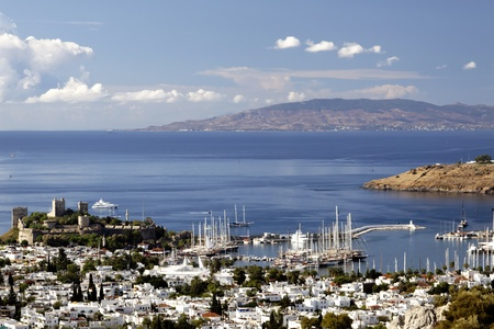 resort of bodrum with its castle and marina in turkey
