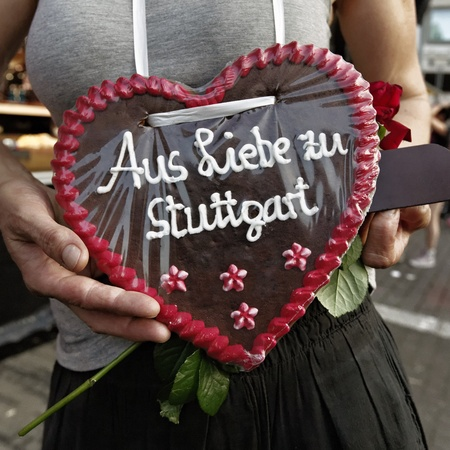 travesty: Heart on the Christopher Street Day in Stuttgart, Germany Stock Photo