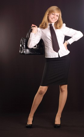 hair tie: Young girl dressed as a business lady with a briefcase