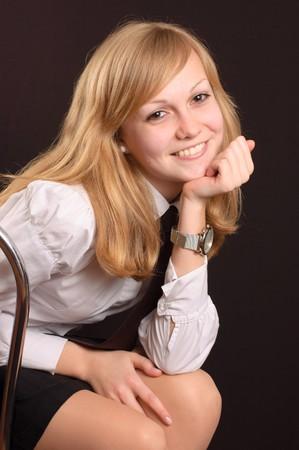 neckties: Adolescente mujer vistiendo una camisa blanca y una corbata