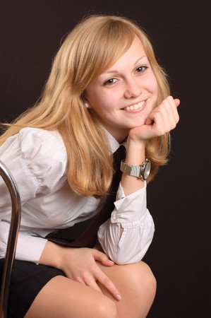 school uniform girl: Female teenager wearing a white shirt and a tie Stock Photo