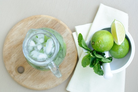 Cool summer drink with lime and mint photo