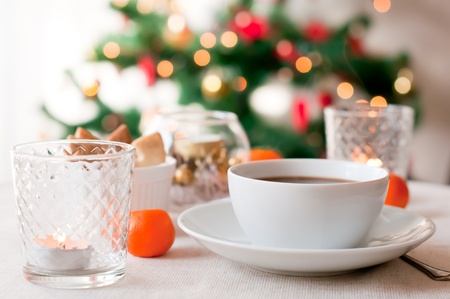 christmas morning: A cup of hot coffee on Christmas morning Stock Photo