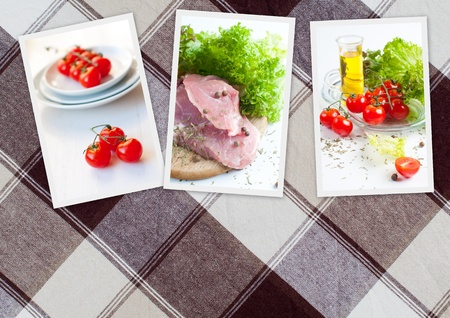 collage of three photos of food on the background of checkered tablecloths photo