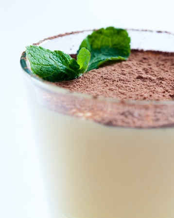 Closeup of vanilla cream dessert with cocoa and mint leaf photo