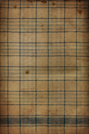 fabric textures: Vintage texture of old checkered stained fabric