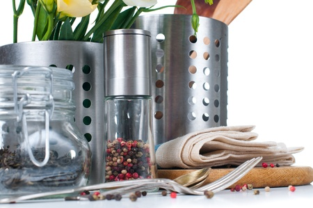 utensil: Kitchen objects, cookware, tableware, flowers and spices on a white background