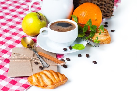 Beautiful delicious breakfast, coffee and pastries on the tablecloth Stock Photo - 13109614