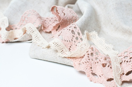 Natural linen fabric and exquisite handmade lace photo