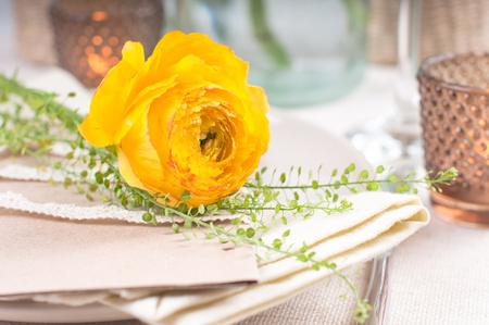 flowers on dining table festive dining table setting with yellow orange flowers ranunkulus