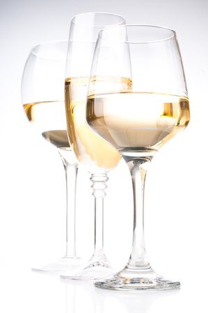 Three different glasses of white wine, close-up photo