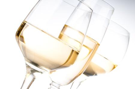 white wine glass: Three different glasses of white wine, close-up