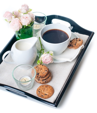serving tray: Fresh breakfast, coffee and chocolate chip cookies on a tray on a white background