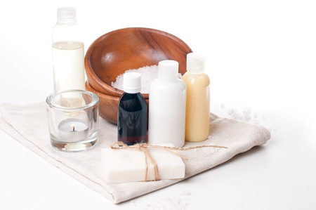 natural cosmetics: Composition of products for spa, body care and hygiene on a white background Stock Photo