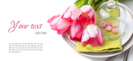 Festive spring table setting with pink tulips, napkins, in bright colors, ready template
