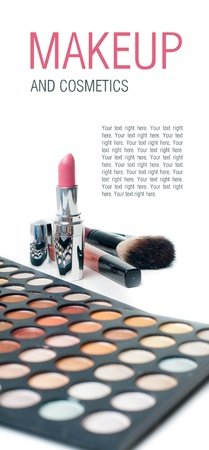 Palette of colorful eyeshadows, lipstick and makeup brushes, close-up, isolated photo