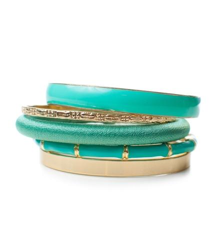 jewelry, five fashion elegant bright gold and green women Stock Photo - 18135060