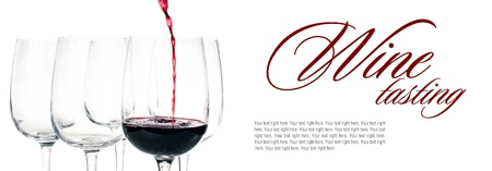 red wine pouring: Wine-tasting, red wine pouring into empty glass closeup on a white background, isolated, ready template Stock Photo