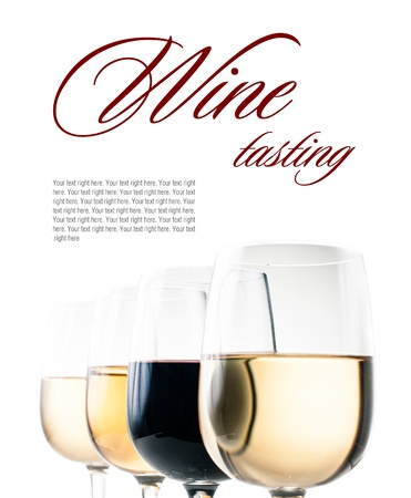 wine background: Wine-tasting, a few glasses of red and white wine close-up on a white background, isolated, ready template Stock Photo