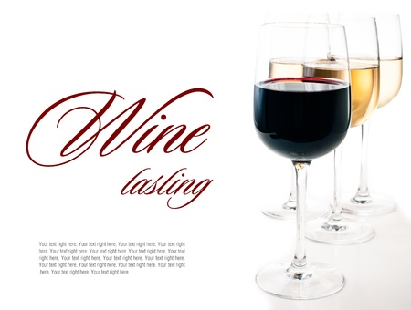wine colour: Wine-tasting, a few glasses of red and white wine close-up on a white background, isolated, ready template Stock Photo